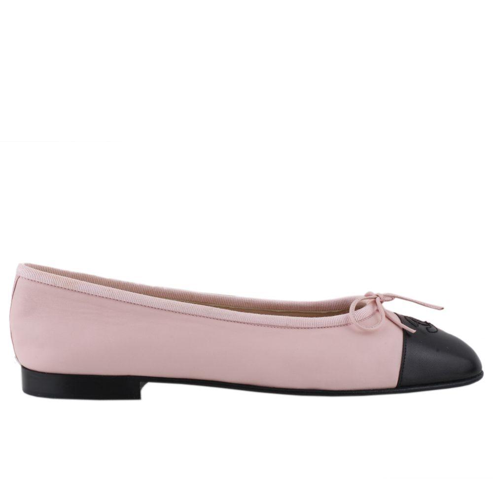 Chanel Pink Leather Cc Cap Toe Ballet