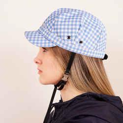 M NEW $590 PRADA Woman's RUNWAY Print Blue Gingham Cotton Chin Strap Cap HAT