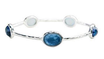 Ippolitta Sterling Silver Wonderland 5-stone Bangle In London Blue Topaz