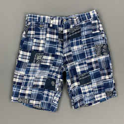 Polo By Ralph Lauren Size 29 Blue Patchwork Cotton Zip Fly Shorts