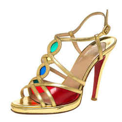 Christian Louboutin Metallic Gold Leather Strappy Sandals Size 37