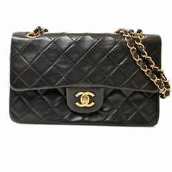 Auth Chanel Chanel Lambskin Matrasse W Flap Chain Shoulder Bag Black