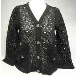 Chanel Lace Knit with Satin Trim Cardigan