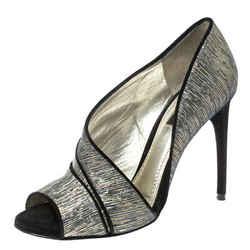 Dolce & Gabbana Metallic Multicolor Fabric Piping Detail Peep Toe D'orsay Pumps