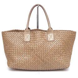 Bottega Veneta Leather Tote Bag Medium Cabat Gold Ottone Metallic Intrecciato w/Pouch