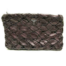 $1299 Prada Lamb Leather Nappa Woven Large Clutch Purple Violet Purse Bag