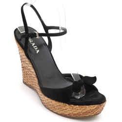 PRADA Black Suede Leather Platform Sandal Wedge Wicker Silver Buckle Sz 38