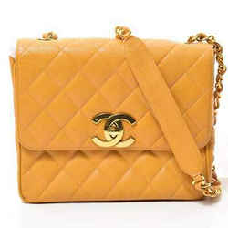 Auth Chanel Matrasse Coco Caviar Chain Shoulder Yellow Leather Bag