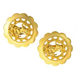 Authentic Hermes Paris Earrings Bijouterie Fantaisie Horse Emblem Gp Clip On Jewelry