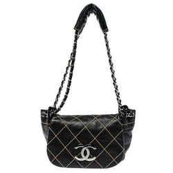 Chanel Black Stitch Quilted Leather Surpique Accordion Flap Bag