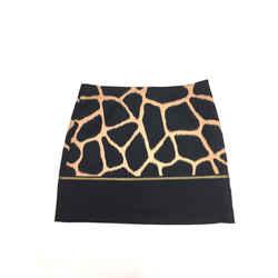 MICHAEL/MICHAEL KORS Black/Tan Giraffe Print Cotton Wraparound Zipper Mini Skirt