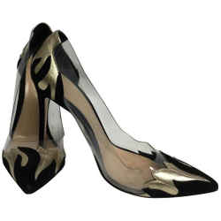 Gianvito Rossi Black Suede and Gold Leather Plexi Pumps Size: EU 38 (Approx. US 8) Regular (M, B) Item #: 24862726