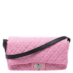 Chanel Pink/Black Quilted Tweed and Leather 2.55 Reissue Flap Bag