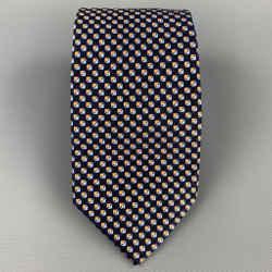 ERMENEGILDO ZEGNA Navy & Gold Squares Silk Tie