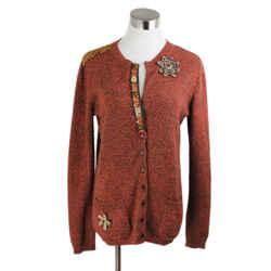 Alberta Ferretti Orange Brown Wool Beaded Trim Sweater Sz 6