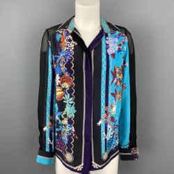 VERSACE Size 6 Multi-Color Floral Silk Buttoned Blouse