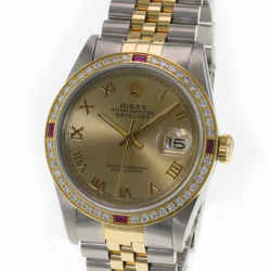 Rolex Mens Datejust Two-tone Ice Blue Dial Diamond Sapphire Bezel 36mm Watch