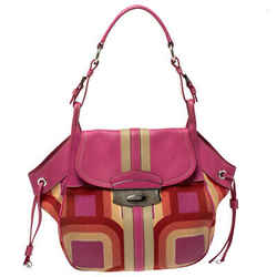 Prada Multicolor Printed Canvas and Leather Flap Hobo