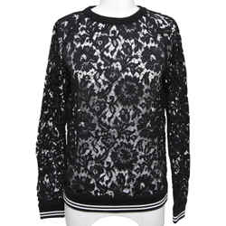 VALENTINO Floral Lace Blouse Top Shirt Long Sleeve Black White Sz S BNWT
