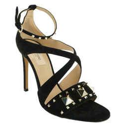 Valentino Rockstud Cross Strap Black Suede Sandals Sz 36 Nib Heel $1085