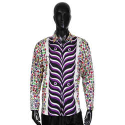 Graphic Print Cotton Button Up Shirt