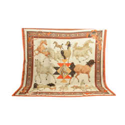 Authentic Hermes Cashmere Silk Scarf Shawl Chevaux Qataris Watrigant 134cm Orange Tan Carre