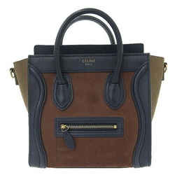 Auth Celine Luggage Micro Shopper Leather X Suede 2way Handbag Multicolor Bag