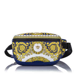 Vintage Authentic Versace Blue Calf Leather Barocco Belt Bag ITALY w/ Dust Bag