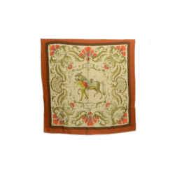 Authentic Hermes Vintage Cashmere Scarf Cheval Turc Vauzelles Orange Horse 90cm