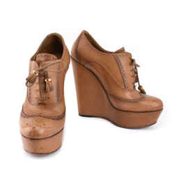 Gucci: Antique Brown, Leather Brogue Platform Heels/oxfords Sz: 7.5m