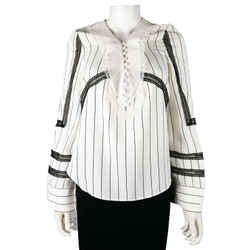 Self Portrait New Striped Top - Contrast Lace Detail Blouse - White Black - Us 2
