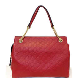 Gucci Guccissima Leather Soft Signature Shoulder Bag Red