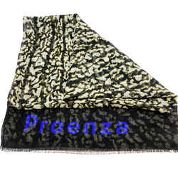 Proenza Schouler Black and White Cobalt Logo Scarf