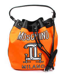 Moschino - New - Drawstring Crossbody Bag - Neon Orange Black Leather Logo