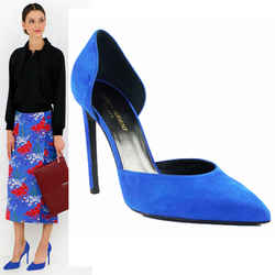 sz 39.5 NEW $750 SAINT LAURENT Vivid Blue PARIS 105 D'ORSAY SPRING Pumps HEELS
