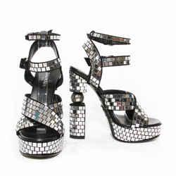 "Balmain Silver Mirror ""Jeni"" Platform Heel Resort2019"