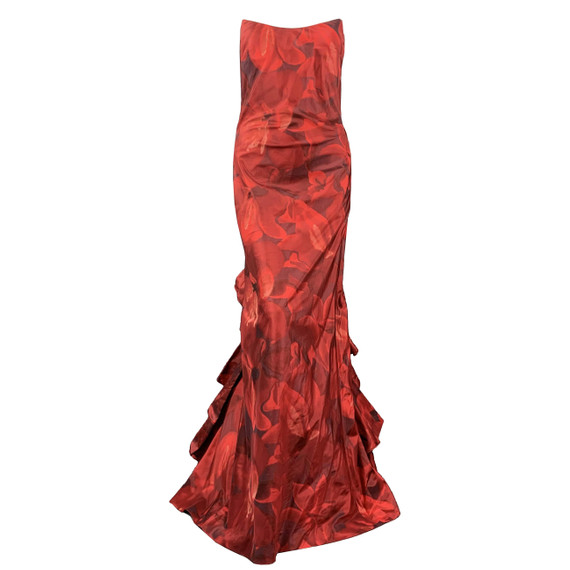Oscar De La Renta 8 Red Floral Silk Taffeta Pointed Busiter Ruffle Back Gown