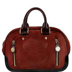 Stamped Trunk GM Suede Havane Satchel Bag Red