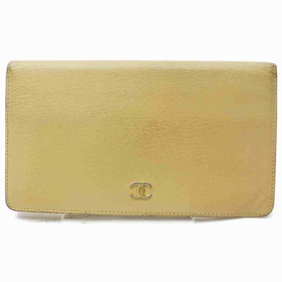 Chanel Beige Leather Bifold CC Flap Long Wallet 861000
