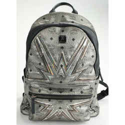 MCM Metallic Leather Stark Cyber Flash Medium Backpack - Silver