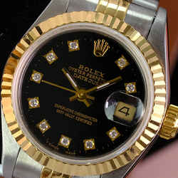 ROLEX Ladies 18kt Gold & SS 26mm DateJust Factory Black Diamond W/Box & Papers
