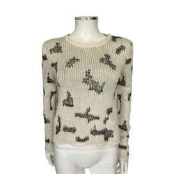Saint Laurent Ivory Black Knit Woven Distressed Mesh Sweater Sz S