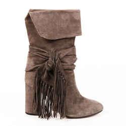 Aquazzura Boots Gray Suede Fringe Tie Block Heel SZ 38.5