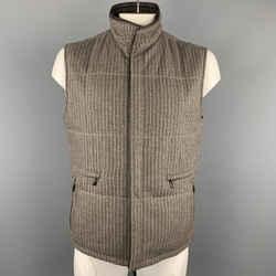 Ermenegildo Zegna 52 Taupe Pinstripe Leather Trimmed Reversible Vest Nwt