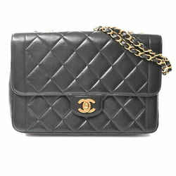 Auth Chanel Chanel Lambskin Matrasse Coco Mark W Chain Shoulder Bag Black