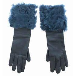 Dolce & Gabbana Blue Lambskin Leather Fur Logo Wrist Women's Gloves
