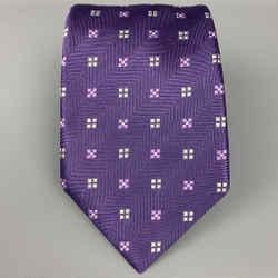 ERMENEGILDO ZEGNA Purple & White Squares Silk Tie