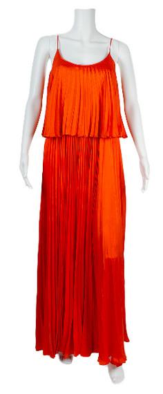 Halston Heritage Orange Silk Pleated Dress