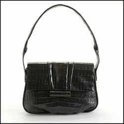 Rdc10807 Authentic Nancy Gonzalez Black Crocodile Shoulder Bag