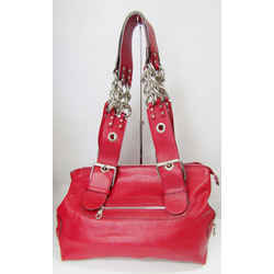 New Chloe Red Leather Shoulder Bag Silver Chain Zippers Hardware Large